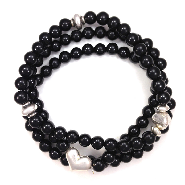 Sterling Silver and Onyx Bracelet stack