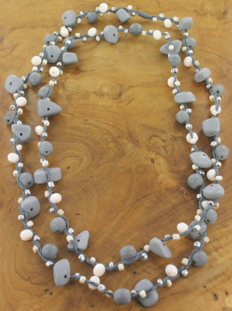 Grey stone bead Necklace